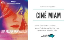 "1/12 - 19h: Ciné Miam ""Una mujer fantastica"""