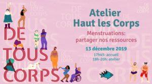 13/12/2019 18h-20h: Atelier Haut les Corps ★ Menstruations: partager nos ressources
